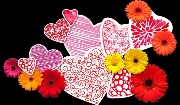 Цветы и сердечки